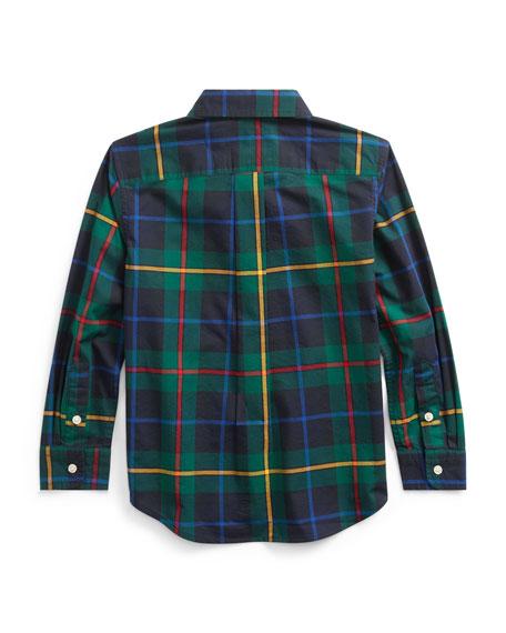 Boy's Natural Stretch Poplin Plaid Button Down Shirt, Size 5-7