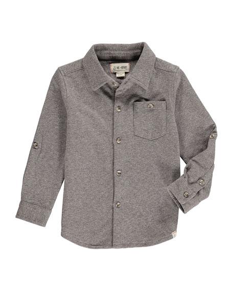 Boy's Heathered Jersey Long-Sleeve Shirt w/ Children's Book, Size 2T-10