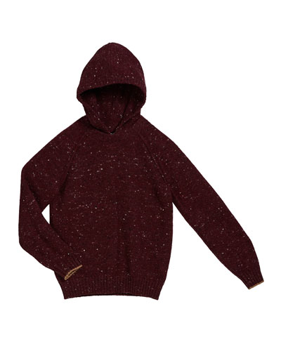 Boy's Speckled Tweed Hooded Sweater  Size 8-10