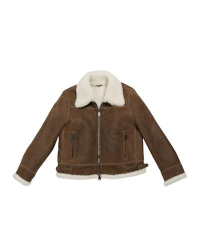 Girl's Shearling Zip Front Jacket w/ Monili Trim  Size 12