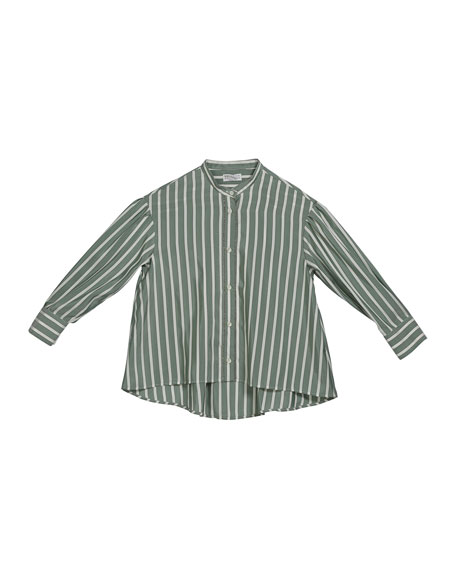 Girl's Striped Button-Down Silk Blouse w/ Monili Placket, Size 12