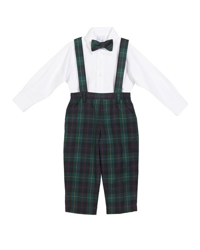 Plaid Overalls w/ Oxford Dress Shirt & Matching Bow Tie  Size 2-4
