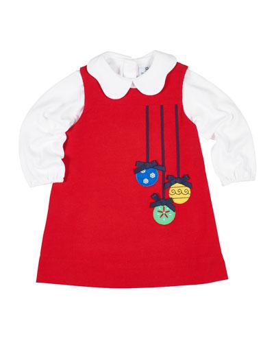 Girl's Corduroy Ornament Jumper w/ Knit Blouse  Size 2-6X
