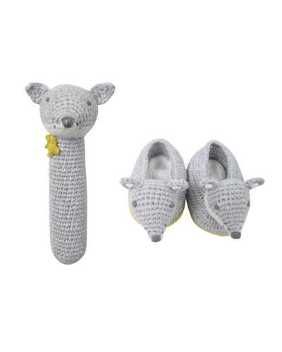 Crochet Wolf Rattle & Booties