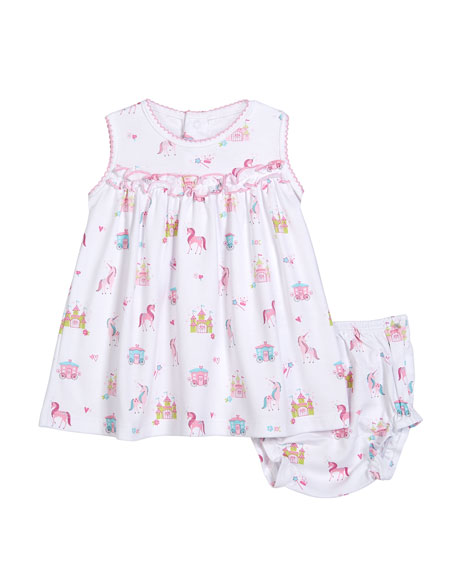 Unicorn Castle Dress w/ Matching Bloomers, Size 3-24 Months