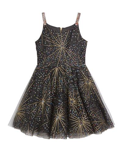 Girl's Firework Sparkle Skater Party Dress  Size 7-16