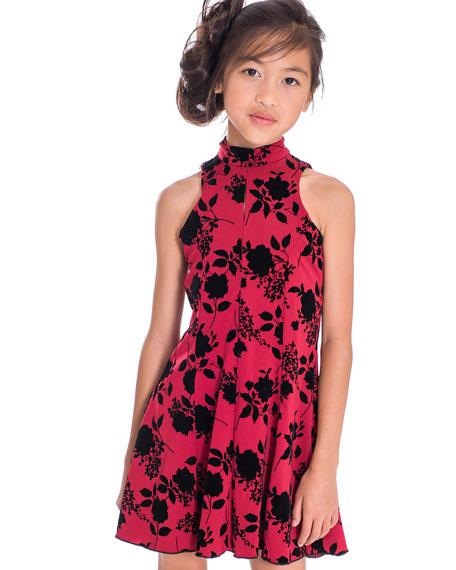 Girl's Flocked Floral High-Neck Dress, Size 7-16