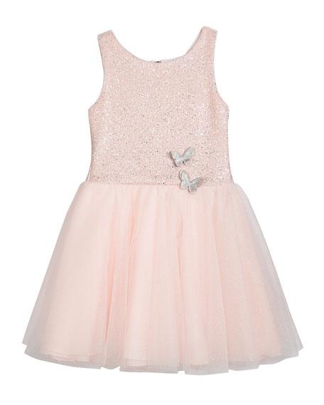 Girl's Shai Foiled Tulle Party Dress 2-Piece Set, Size 4-6X