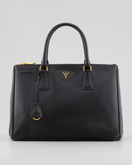 Saffiano Small Double-Zip Executive Tote Bag, Black