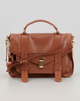 PS1 Medium Leather Satchel Bag, Red Brown