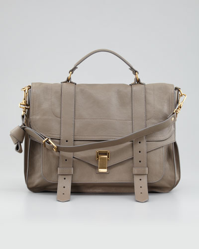 PS1 Large Leather Satchel Bag, Gray