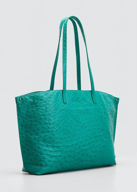 Ai Ostrich Shoulder Bag, Dark Gray