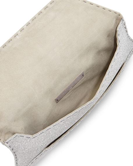 Manila Stretch Glitter Clutch Bag, Silver
