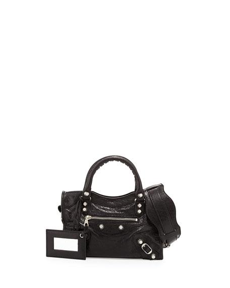 Rivet-Studded Mini City Shoulder Bag, Black
