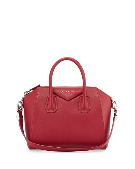 29e3a6574f Givenchy Antigona Small Grained Leather Satchel Bag, Red
