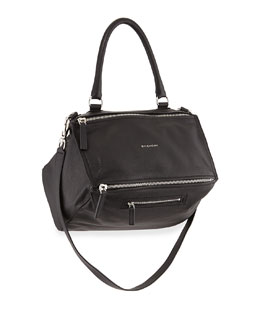 Pandora Medium Pebbled Leather Shoulder Bag, Black