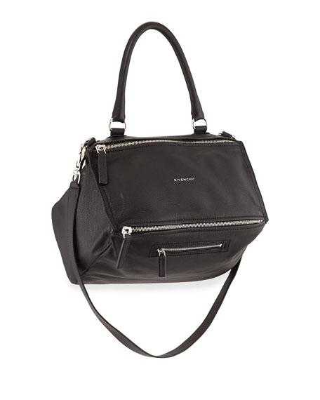 Pandora Medium Pebbled Leather Shoulder Bag, Black