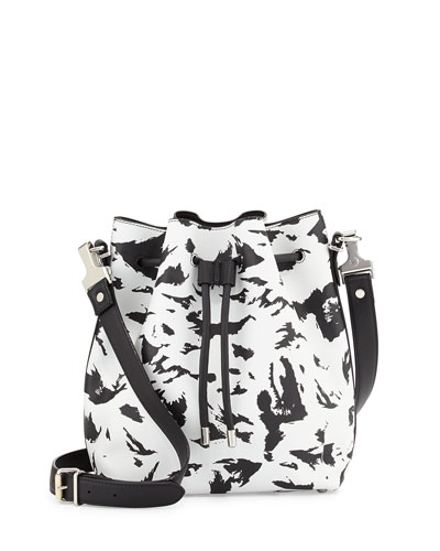 Medium Feather-Print Bucket Bag, Black/White