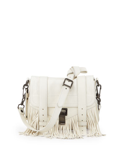 PS1 Leather Fringe Pouch Crossbody Bag, White
