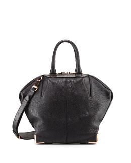 Emile Pebbled Leather Angled Tote Bag, Black