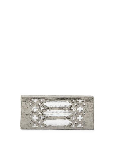 Venetian Laser-Cut Crocodile Box Clutch, Anthracite