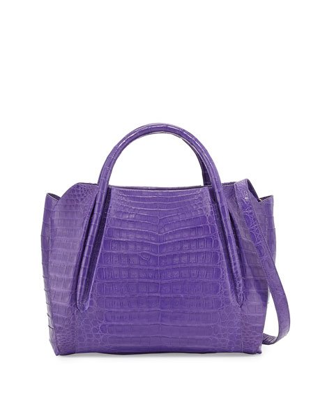 Medium Crocodile Horseshoe Tote Bag, Purple