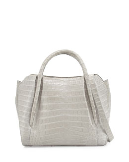 Medium Crocodile Horseshoe Tote Bag, Gray