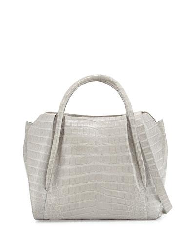 Medium Crocodile Horseshoe Tote Bag, Gray