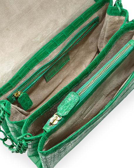 Small Crocodile Double-Chain Shoulder Bag, Green