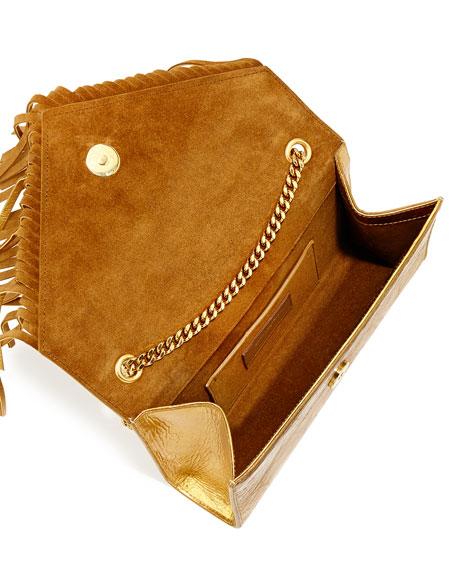 Monogram Fringe Crossbody Bag, Gold