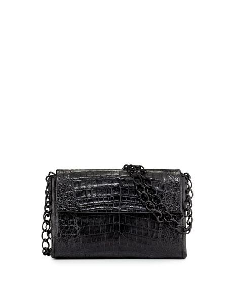 Small Crocodile Double-Chain Shoulder Bag, Black