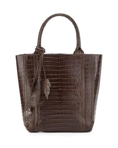 Medium North-South Leaf-Embellished Tote Bag, Chocolate
