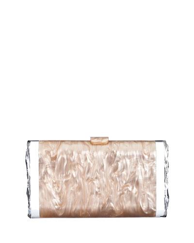 Lara Pearlescent Acrylic Ice Clutch Bag, Taupe