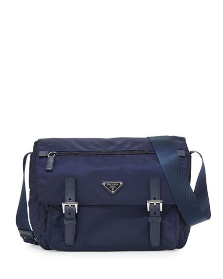 47539b4c9c59 best price prada vela nylon medium messenger bag navy bleu 774bb f6126