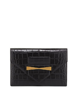 Large Croc-Embossed Envelope Clutch Bag