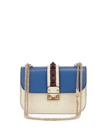 Colorblock Small Rockstud-Trim Flap Bag