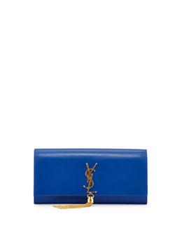 Monogramme Calfskin Tassel Clutch Bag, Bleu Majorelle