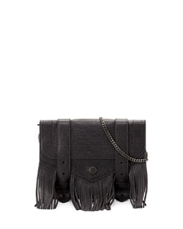 PS1 Large Fringe Chain Wallet Bag, Black