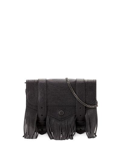 PS1 Large Fringe Chain Wallet Bag, Black