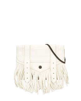 PS1 Large Fringe Chain Wallet Bag, White