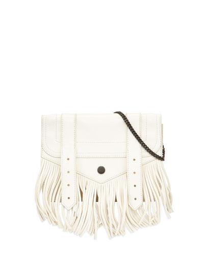 PS1 Large Fringe Chain Wallet Bag, White