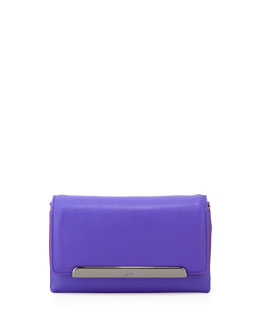 Rougissime Leather Clutch Bag w/ Contrast Piping, Blue