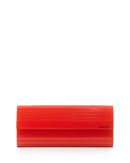 Sweetie Lacquered Acrylic Clutch Bag, Orange