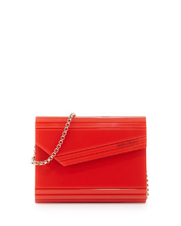 Candy Lacquered Asymmetric Clutch Bag, Orange