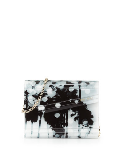 Candy Palm-Print Asymmetric Clutch Bag, Black/White