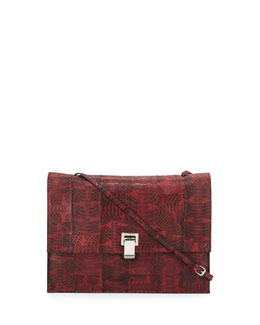 Large Snakeskin Lunch Bag-on-a-Strap, Burgundy
