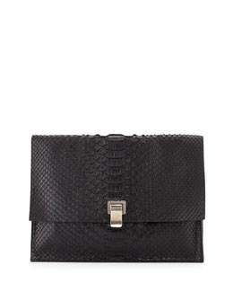 Large Python Lunch Bag Clutch, Black