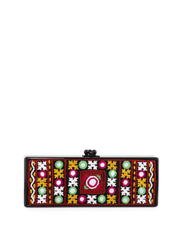 Flavia Embroidered-Inlay Clutch Bag, Black