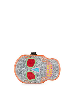 Libertine Multicolor Glitter Skull Clutch Bag