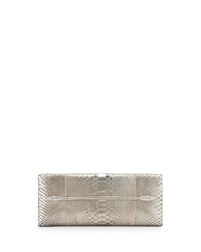 Metallic Python Snake-Jeweled Evening Clutch Bag, Silver